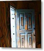 Wood Workers Door In Truchas New Mexico Metal Print