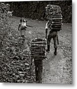 Woodcarriers In Guatemala Metal Print