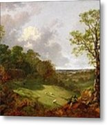 Wooded Landscape With A Cottage - Sheep And A Reclining Shepherd Metal Print