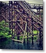 Wooded #rollercoaster At #cedarpoint In Metal Print by Pete Michaud