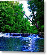 Wooded Waterfall Metal Print by Bill Cannon