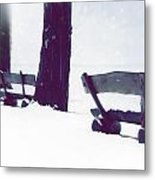 Wooden Benches In Snow Metal Print
