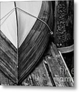 Wooden Boat On The Dock Metal Print