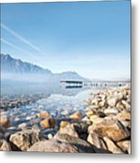 Wooden Dock Over Lake Metal Print by Laverrue Was Here