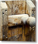 Wooden Door Bolt Detail Metal Print