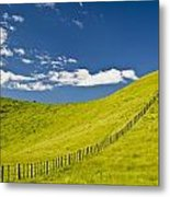 Wooden Fence Posts Running Through A Metal Print