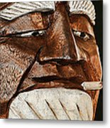 Wooden Head With Cigarette Metal Print