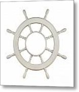 Wooden Sail Boat Wheel Metal Print by Blink Images