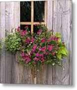 Wooden Shed With A Flower Box Under The Metal Print by Michael Interisano