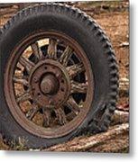 Wooden Spoked Tire Metal Print