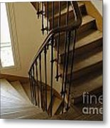 Wooden Stairs In Traditional Parisian Building Metal Print
