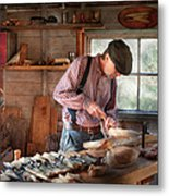 Woodworker - Carving - Carving A Duck Metal Print