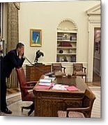 Working Late President Barack Obama Metal Print by Everett