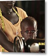 Working Mother And Child, Uganda Metal Print by Mauro Fermariello