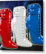 World Domination In Red White And Blue Boots Metal Print