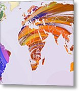 World Map Abstract Painted Metal Print