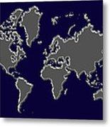 World Map Silver Metal Print