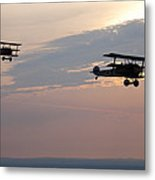 World War I Triplanes In Flight Metal Print