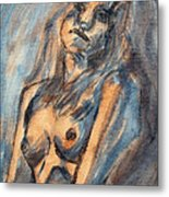 Worried Young Nude Female Teen Leaning And Filled With Angst In Orange And Blue Watercolor Acrylics Metal Print