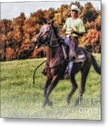 Wrangler And Horse Metal Print by Susan Candelario