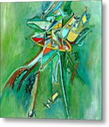 Contemporary Green Colorful Plane Abstract Composition Metal Print