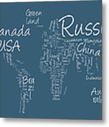 Writing Text Map Of The World Map Metal Print