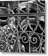Wrought Iron Gate And Pots Black And White Metal Print
