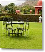 Wrought Metal Chairs Around A Table In A Lawn Metal Print
