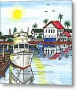 Yacht In Front Of Red Roofs Metal Print
