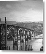 Yaquina Bay Bridge Oregon B And W Metal Print