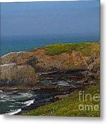 Yaquina Head Lighthouse And Bay - Posterized Metal Print