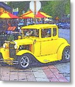 Yellow 1930's Ford Roadster Metal Print