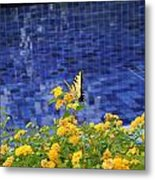 Yellow Against Blue Metal Print