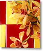 Yellow And Red Orchids  Metal Print