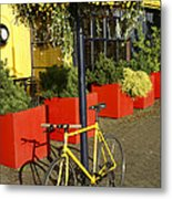 Yellow Bicycle Vancouver Canada Metal Print