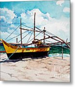 Yellow Boat Docking On The Shore Metal Print