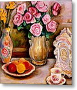 Yellow Daffodils Red Roses  Peaches And Oranges With Tea Cup  Metal Print
