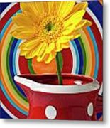 Yellow Daisy In Red Pitcher Metal Print
