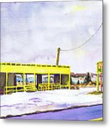 Yellow Farm Stand Winter Orient Harbor Ny Metal Print by Susan Herbst