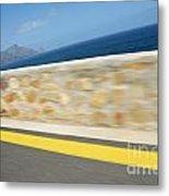 Yellow Line On A Coastal Road By Sea Metal Print by Sami Sarkis