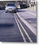 Yellow Lines On Road Metal Print by Andrew Lambert Photography