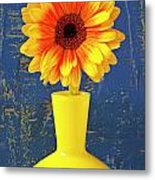 Yellow Mum In Yellow Vase Metal Print