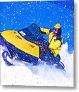 Yellow Snowmobile In Blizzard Metal Print
