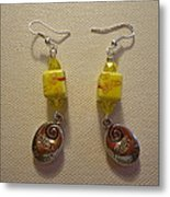 Yellow Swirl Follow Your Heart Earrings Metal Print by Jenna Green