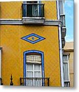 Yellow Tile Building In Cadiz Spain Metal Print