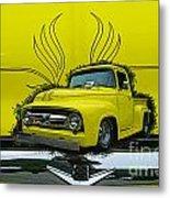 Yellow Truck In Truck Grill Metal Print