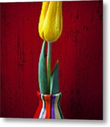 Yellow Tulip In Colorfdul Vase Metal Print by Garry Gay