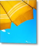 Yellow Umbrella With Sea And Sailboat Metal Print