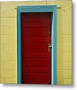 Yellow Wall And Red Door Metal Print