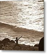 Yoga At Kalalau Metal Print